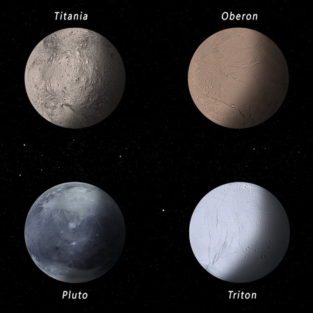 pluto: imaginary illustration of four best known space moons and dwarf pluto