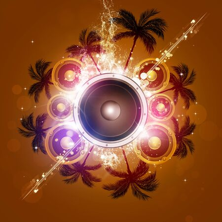 sound speaker: summer party music background with palms and sound speaker