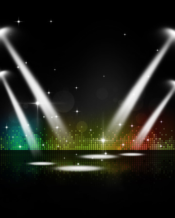 stage lights: abstract multicolor music party event stage lights Stock Photo