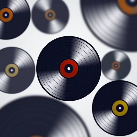 discotheque: abstract minimal music background with blurred vinyls Stock Photo