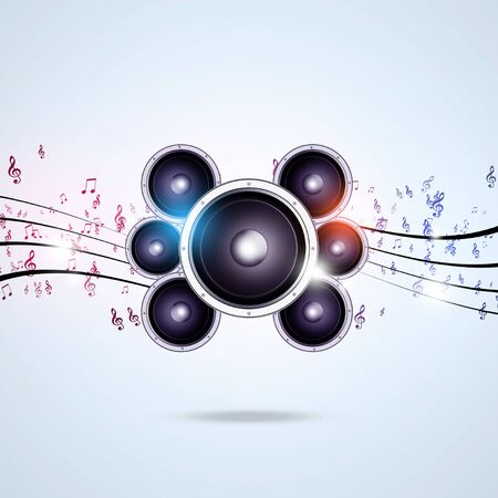 funky background: abstract funky background with music notes sound speakers