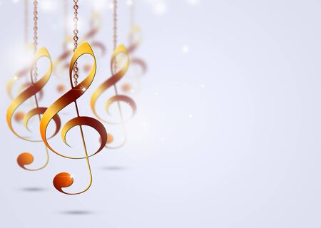 abstract bright background with golden music notes