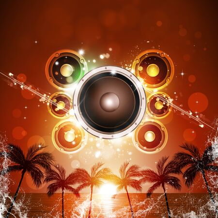 sound speaker: summer party music poster with palms and sound speaker