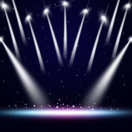 discoteque: music event background with spotlights on the stage