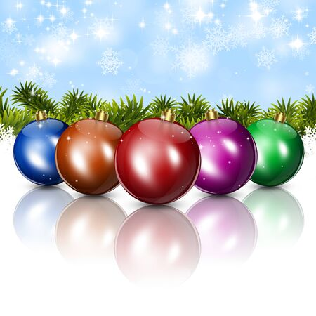 xmas winter abstract celebration cards with snow multocolor balls and lights