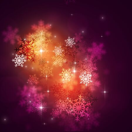 blurry lights: abstract winter multicolor background with snow and blurry lights Stock Photo