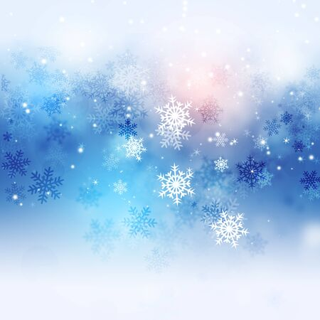 blurry lights: xmas winter abstract blue background with snow and blurry lights Stock Photo