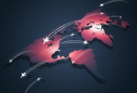 blurry: business global aviation travel connections concept background