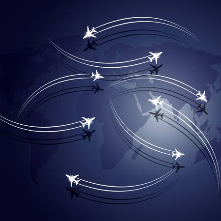 lag: aviation business background airplanes flying over the map Stock Photo