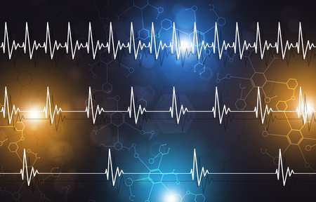 abstract medicine illustration of heart pulsating fast normal and slow