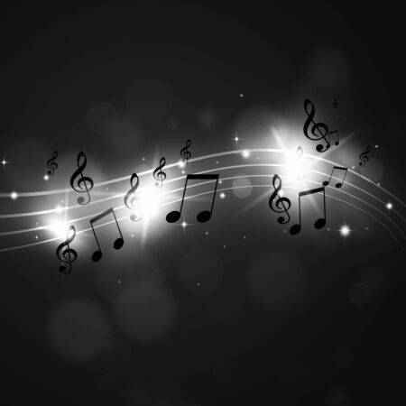 abstract black and white background with multicolor music notes