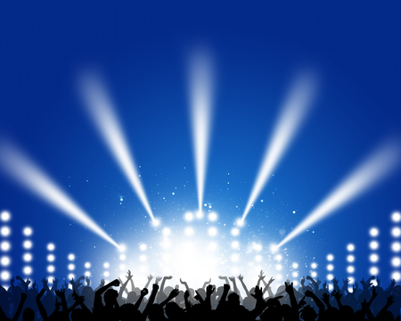 blue music background with dancing people for club party posters