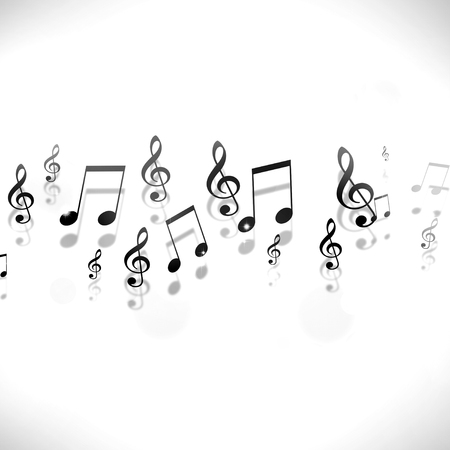 dancing club: abstract black and white background with music notes