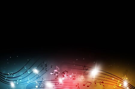 dancing club: abstract party music notes on multicolor background