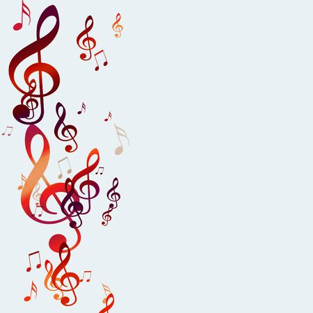 dancing club: abstract bright background with red music notes