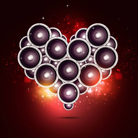 heart shape music sound speakers party bright nightclub background Stock Photo