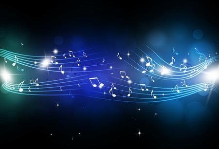 抽象的な音符と暗い青色の背景にぼやけてライト 写真素材
