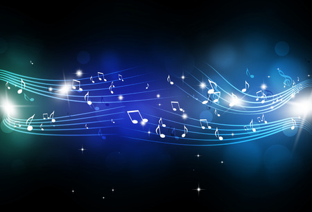 abstract music notes and blurry lights on dark blue background Foto de archivo