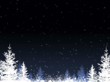 abstract christmas snow blue background with tress blurry lights