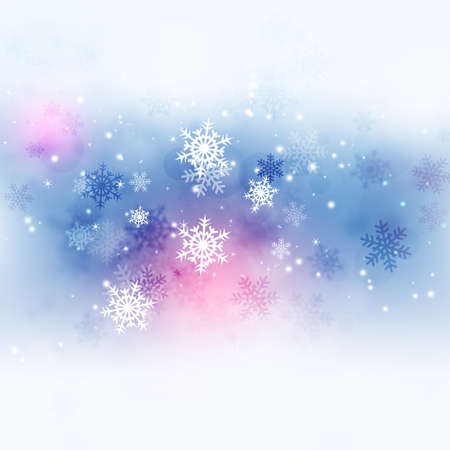 xmas winter abstract celebration card with snow and lights