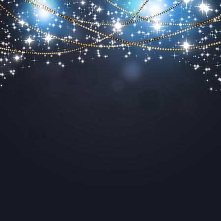 Abstrakter Weihnachtsfeiertag dunkler Hintergrund mit Sternen und Lichtern Standard-Bild - 89705281
