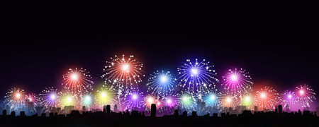 밤에 도시에서 휴가 여러 가지 빛깔의 불꽃 놀이 스톡 콘텐츠