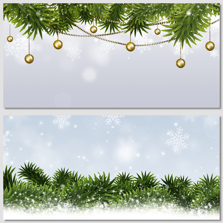winter holiday merry christmas banners for greeting cards