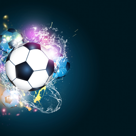 abstract sport background with a football soccer balls 스톡 콘텐츠