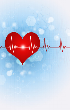 science medical illustration of big red heart beating Stock Photo