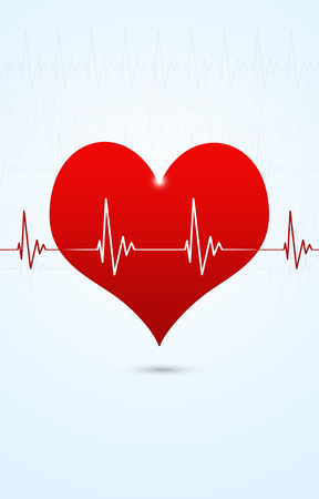 abstract medical background with big red heart beating Stock Photo