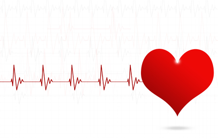 abstract medical illustration with big red heart beating Stock Photo