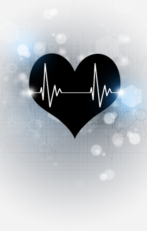 science medical illustration with black heart beating