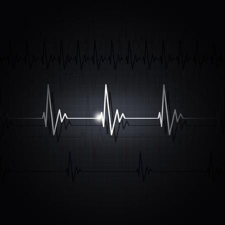 Heart pulsating ecg rhythm graph dark background Фото со стока