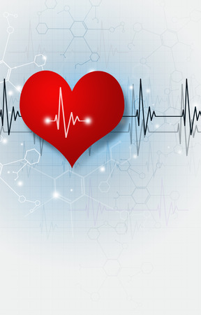 abstract medical illustration with big red heart ecg Stock Photo