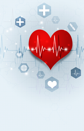 abstract medical illustration with red heart and pulse on ecg Stock Photo