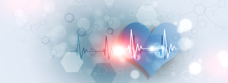 abstract science medical illustration banner of heart pulsating rhythm