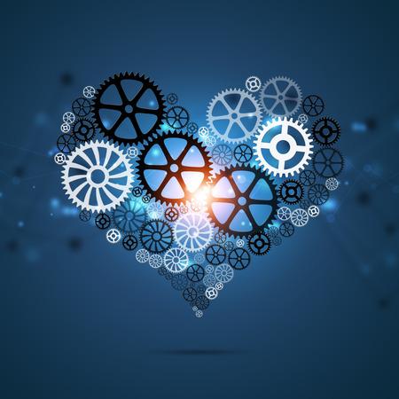 technology smart business background with heart shape gears  Banco de Imagens