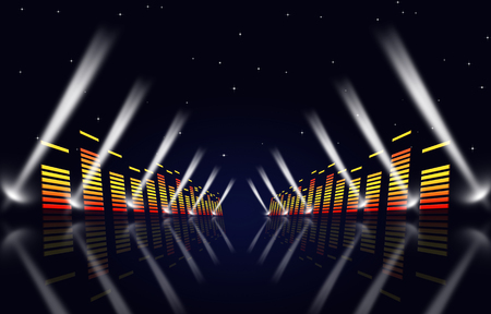 multicolor music background with equalizer and spotlights for fame events