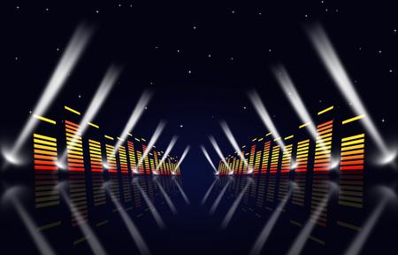 sottofondo musicale multicolore con equalizzatore e faretti per eventi di fama