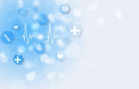 technology and science medical blue illustration with icons and heart cardiogram