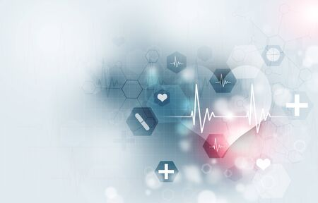 technology and science medical blue illustration with icons and heart ecg