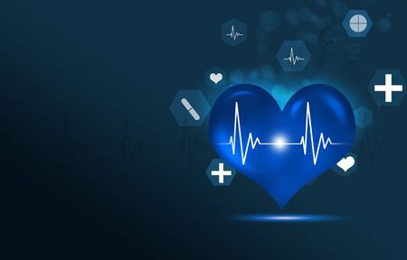 abstract technology and science medical blue heart illustration with icons