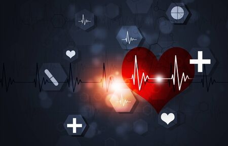 technology and science medical illustration with red heart cardiogram