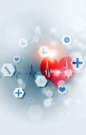 technology and science medical illustration with red heart ecg