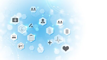 abstract technology and science medical blue illustration with icons Stock Photo