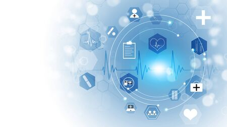 abstract technology and science medical blue illustration with icons