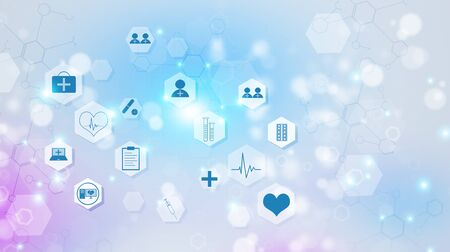 abstract technology and science medical multicolor illustration with icons