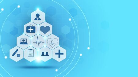 healthcare and science medical blue illustration with icons Zdjęcie Seryjne