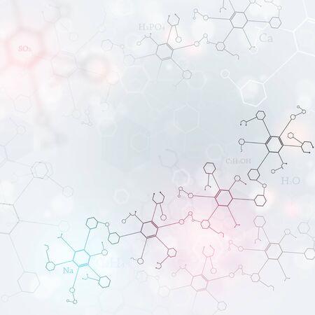 Fondo brillante de ciencia abstracta con elementos de química