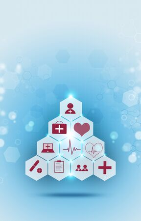 abstract healthcare and science medical illustration with red icons Zdjęcie Seryjne